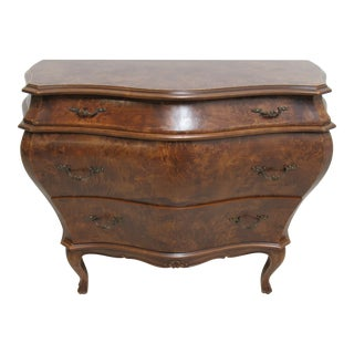 Vintage Italian Burl Wood Bombay Commode For Sale