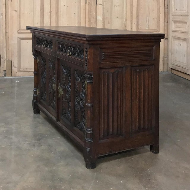 Metal 19th Century French Gothic Oak Buffet With Brass Hardware For Sale - Image 7 of 13