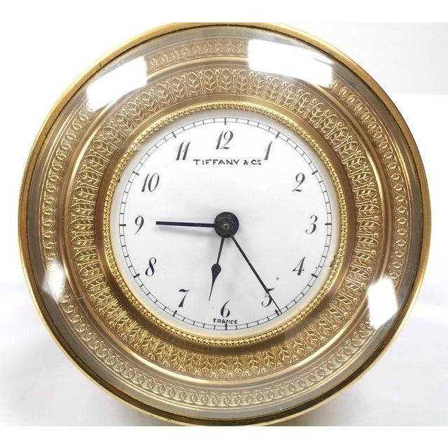 Mid-Century Modern Tiffany Vintage Bronze Travel Alarm Clock For Sale - Image 3 of 7
