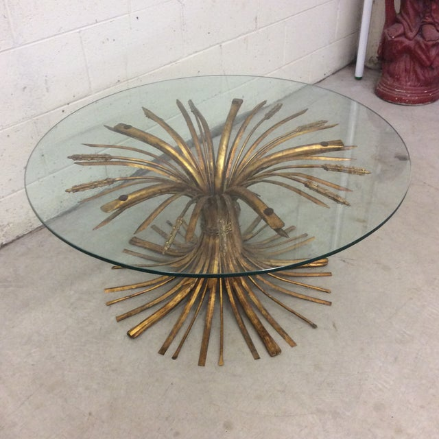 Boho Chic Gold Leaf Sheaf of Wheat Cocktail Table For Sale - Image 3 of 10