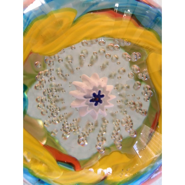 Brilliantly Colored Italian Art Glass Paperweight From 1970s For Sale - Image 4 of 7