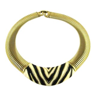 1980s Vintage Givenchy Enamel Zebra Necklace For Sale