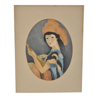 Girl With Mandolin Original Serigraph