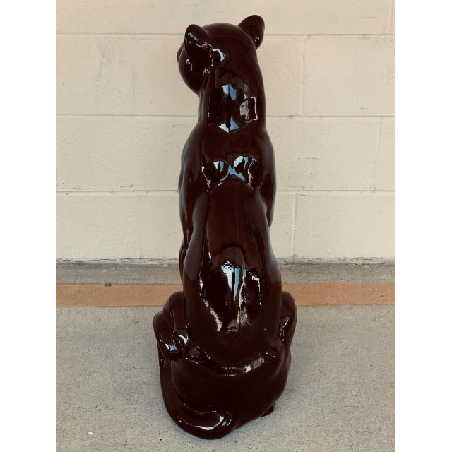 Black Pair of Italian Porcelain Seated Black Panthers For Sale - Image 8 of 12