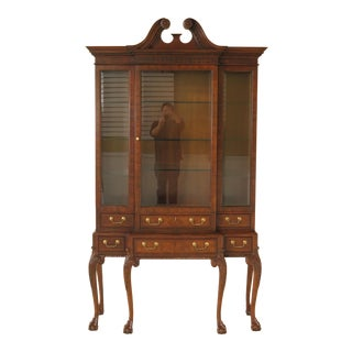 Baker Stately Homes Claw Foot Walnut China Cabinet