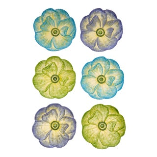 Moda Domus x Chairish Exclusive Dinner Plates in Blue, Purple, and Green - Set of 6 For Sale