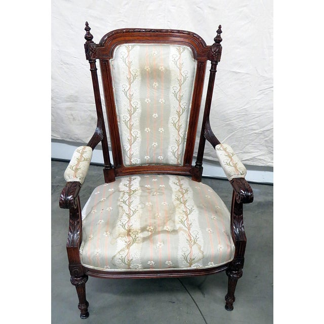 Companion pair of Louis XVI style armchairs.