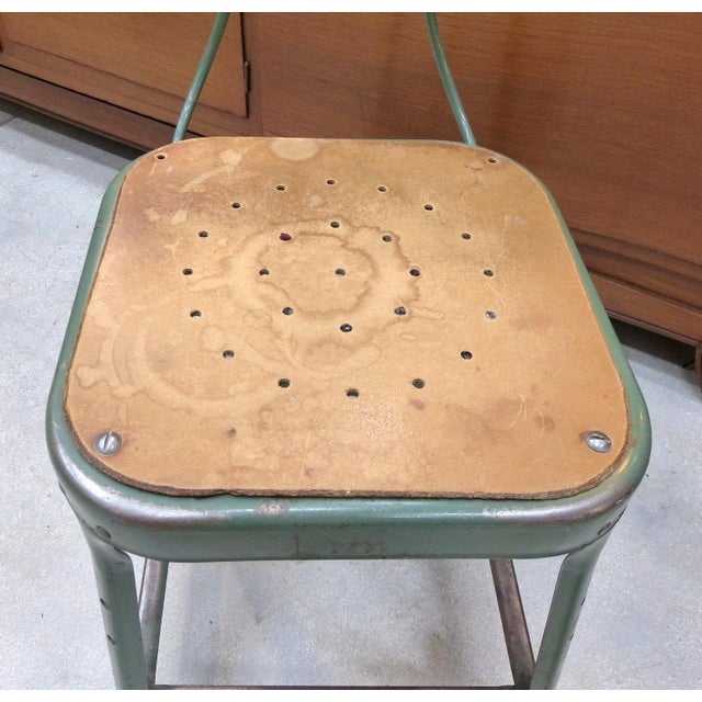 Tan Industrial Metal Desk Chair For Sale - Image 8 of 10