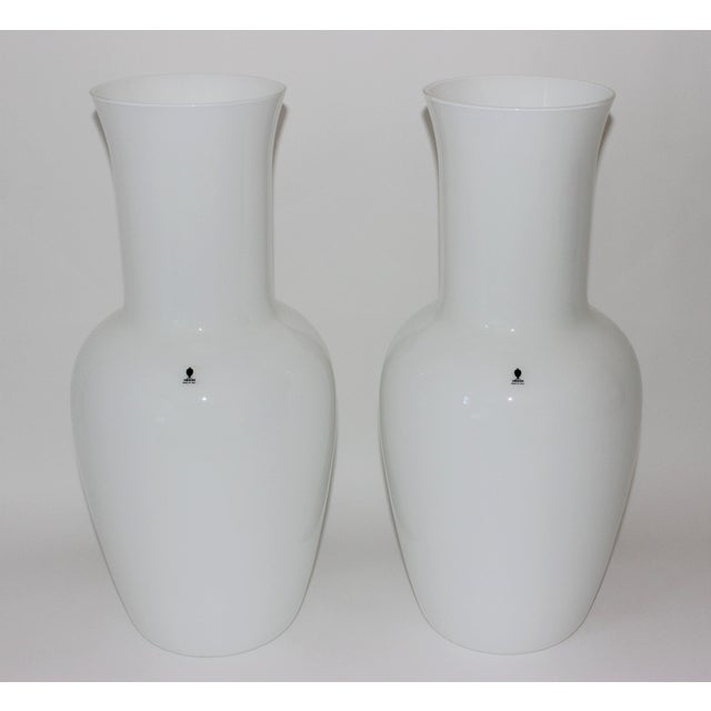 Vintage Venini Murano White Glass Vases - a Pair - Part of a Collection For Sale - Image 10 of 10