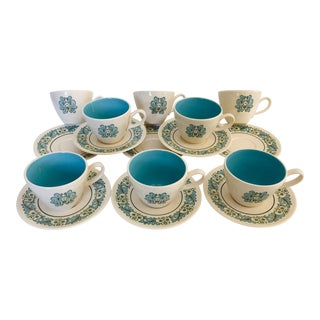French Style Taylor & Smith China Set of 8 Cups and Saucers For Sale