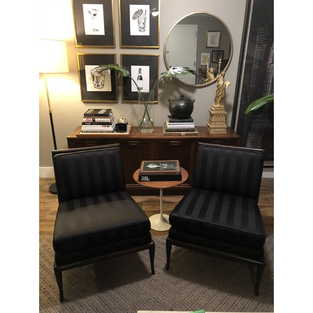 Black 1950's Vintage T.H. Robsjohn Gibbings Armless Chairs- A Pair For Sale - Image 8 of 9