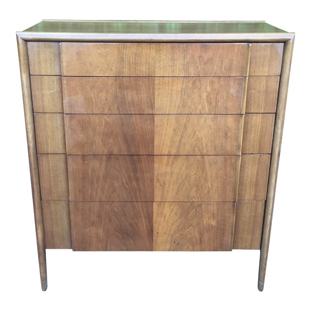 Mid Century Modern High Boy Dresser Chest of Drawers Parallel Collection by Barney Flagg for Drexel For Sale