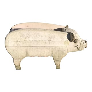 Vintage Amish Folk Art Wood Pig Planter