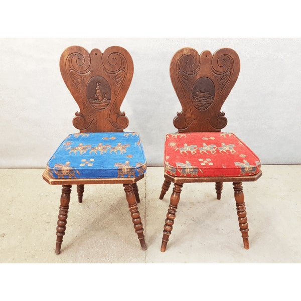 Charming Very Cute Alpine Chalet Style French Alps Rustic Side Chairs For Sale - Image 13 of 13