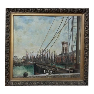 Antique Framed Oil Painting on Board by Windel For Sale