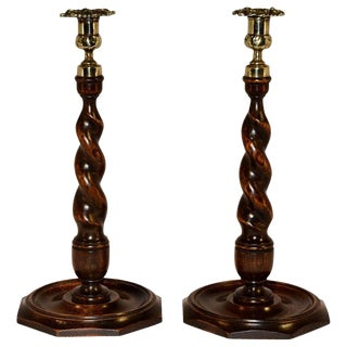 19th Century Tall Spiral Turned Wood Candlesticks - a Pair For Sale