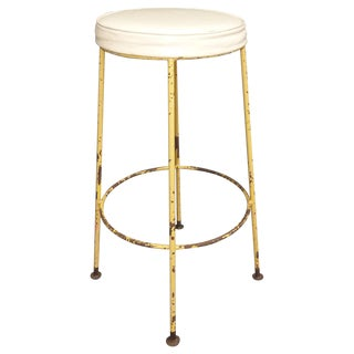 Vintage Yellow Metal & White Vinyl Bar Stool French Country Farmhouse Industrial For Sale
