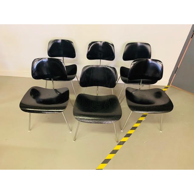 1960s 1960s Vintage Eames Dcm Chairs - Set of 6 For Sale - Image 5 of 12