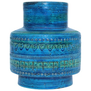 Aldo Londi for Bitossi Blue Ceramic Vase For Sale