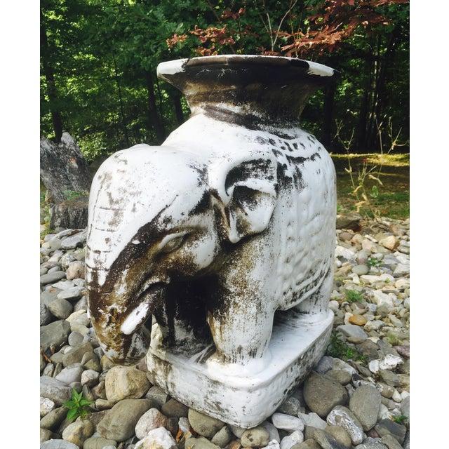 Glazed Ceramic Elephant Garden Stool / Side Table - Image 3 of 7