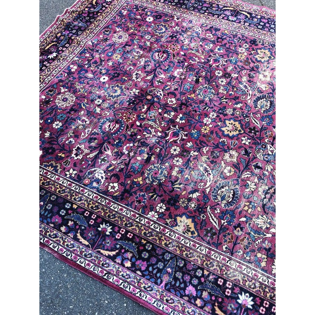 Textile Large Early 20th Century Antique Persian Distressed Handmade Rug For Sale - Image 7 of 12