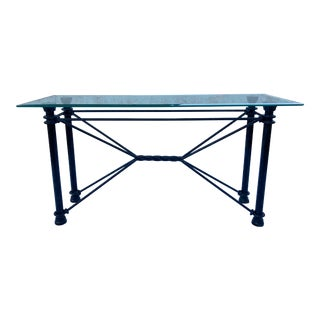 1980s Mid-Century Modern Rectangular Wrought Iron Base Beveled Glass Top Console Sofa Table For Sale