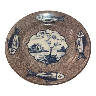 1970s Williamsburg Shields Tavern Plate Fish Pattern For Sale