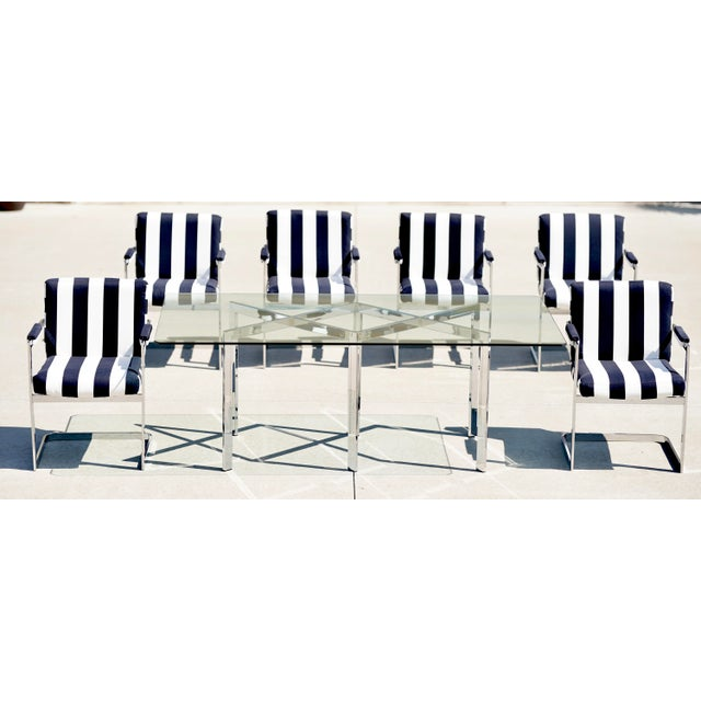 Metal Milo Baughman for Thayer Coggin X Base Chrome Dining Set - 7 Pieces For Sale - Image 7 of 13