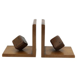 Mid-Century Wood Dice Bookends, Pair For Sale