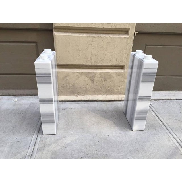 1980s Carrara Marble Console / Fireplace Mantel For Sale - Image 5 of 7