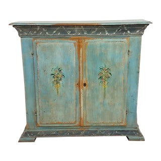 Antique 18th C French Country Paint Decorated Shallow Bookcase Cupboard For Sale