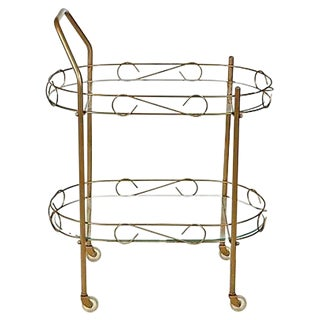 60s Gilt Metal & Glass Rolling Cart