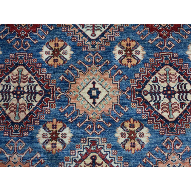 Hand Knotted Blue Kazak Wool Rug For Sale - Image 9 of 13