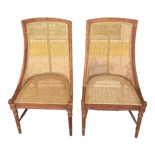 Late 20th Century Anglo Indian Cane Chairs- A Pair For Sale