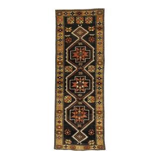 Vintage Turkish Oushak Runner with Modern Tribal Style, Black Oushak Runner For Sale
