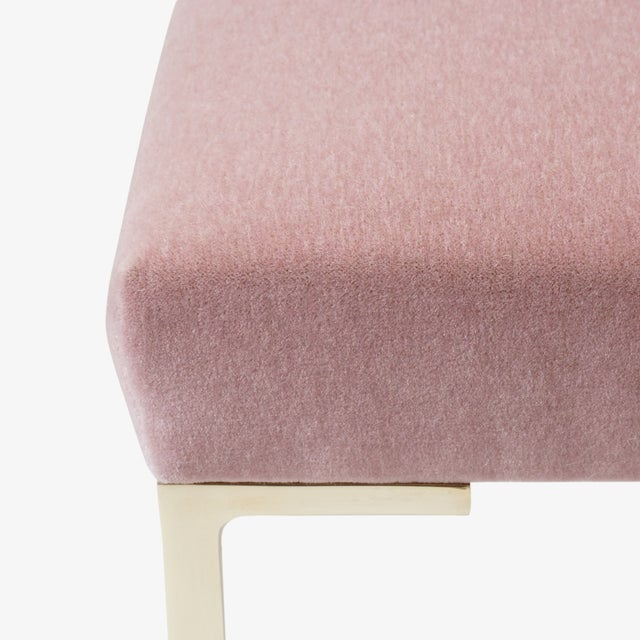 Not Yet Made - Made To Order Astor Petite Brass Ottomans in Blush Mohair by Montage - Pair For Sale - Image 5 of 6