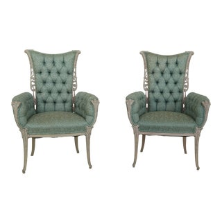 Pair Vintage French Highly Carved Tufted Upholstered Fireside Chairs For Sale