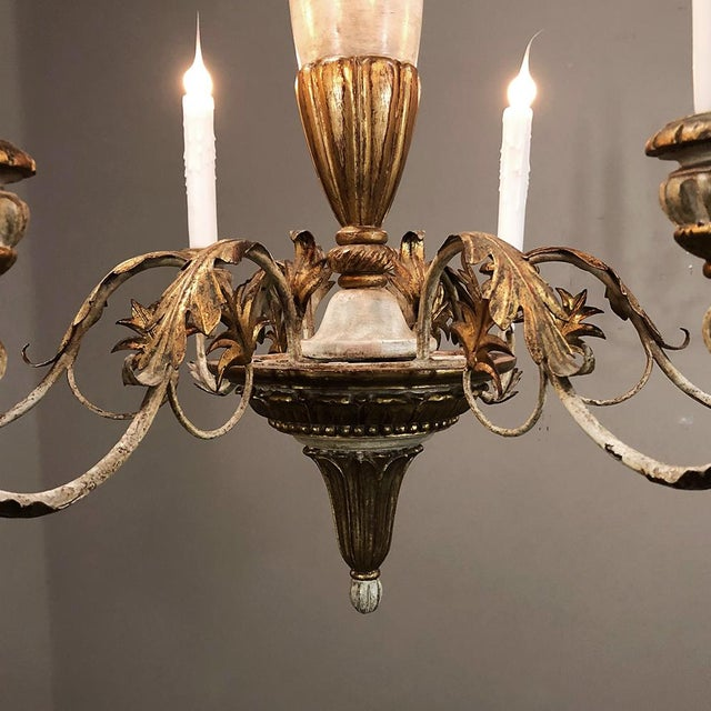 Antique Italian Hand Painted Wood and Iron Chandelier For Sale In Dallas - Image 6 of 7