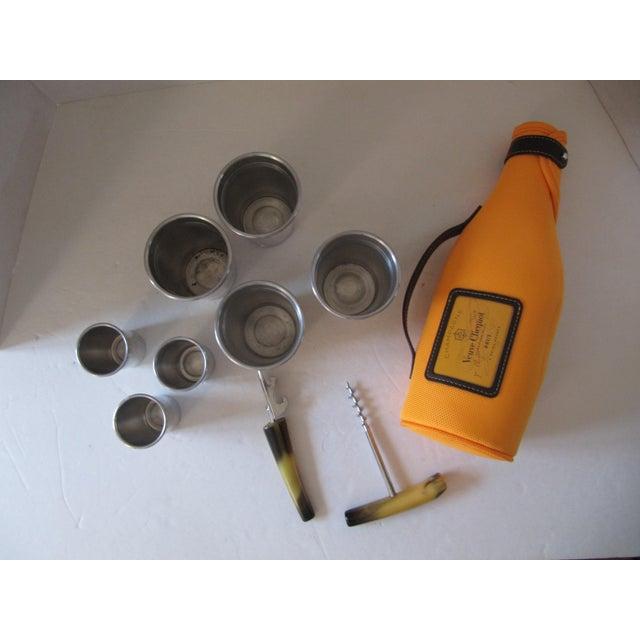 Vintage Putney Vermont Basketville picnic basket and drinks accessories. Basket contains a Veuve Clicquot orange champagne...