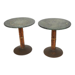 1960s Mid-Century Modern McGuire Bamboo & Marble Bistro Table For Sale