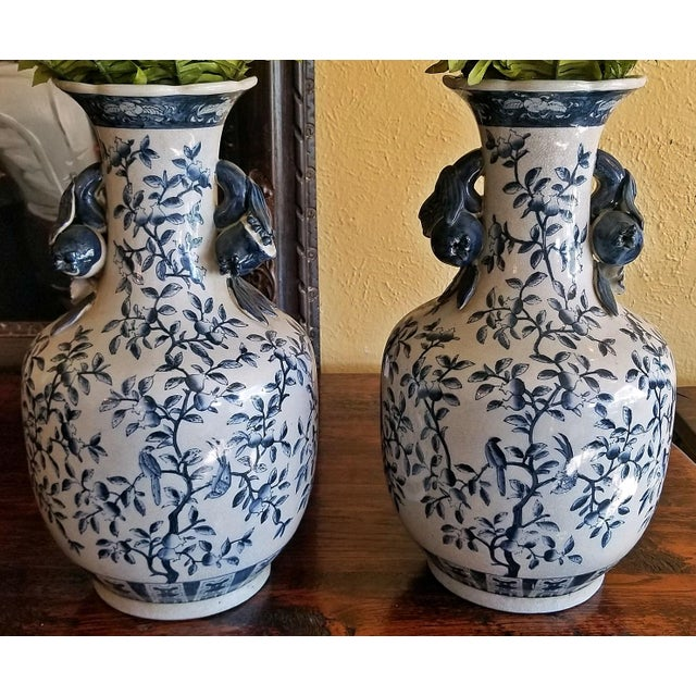 Asian 19c Pair of Large Staffordshire Ironstone Floor Vases For Sale - Image 3 of 9