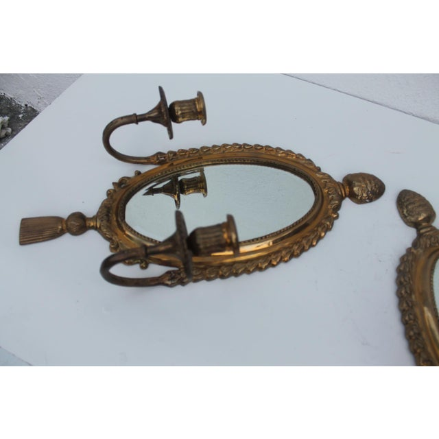 Italian Brass Mirrored Candle Sconces - A Pair - Image 3 of 8