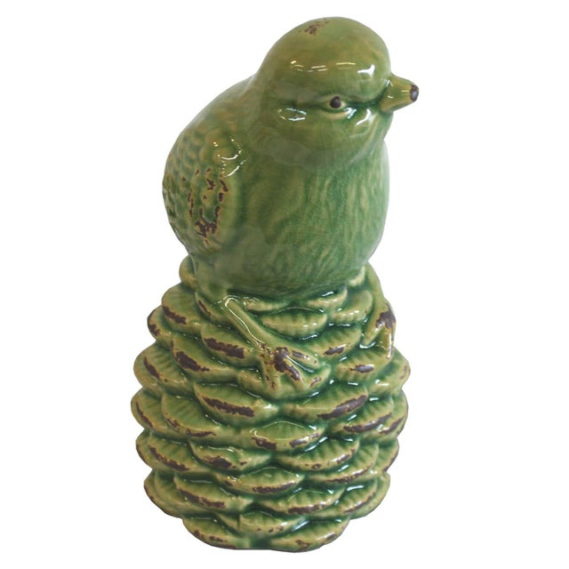 Green Bird on a Pine Cone Figurine - Image 3 of 4