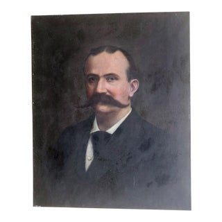 Mid 19th Century Vintage Original Victorian Portrait Painting by Charles Wright For Sale
