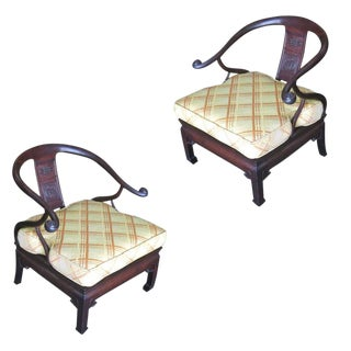 Pair of James Mont Style Horseshoe Lounge Chairs For Sale