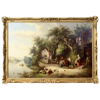 Large Oil on Canvas English Landscape Painting For Sale