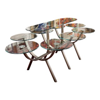 Contemporary Modern Glass & Steel Banquet Dining Table Dia 1980s Circle of Life For Sale