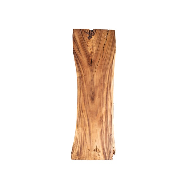 Modern Primitive Live Edge Wood Table With Wood Base For Sale - Image 3 of 4