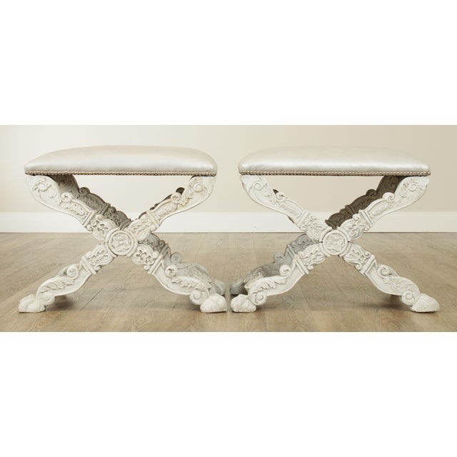 Baroque Italian Baroque Style Carved White Painted X Stools, Benches - a Pair For Sale - Image 3 of 13