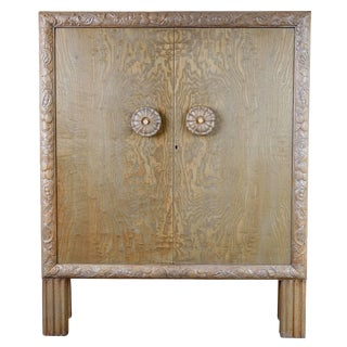 1920s Gustavian Style Highly Detailed Carved Circassian Oak Cabinet For Sale